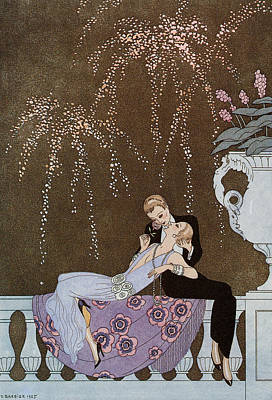 July Fourth Drawing - Fireworks by Georges Barbier