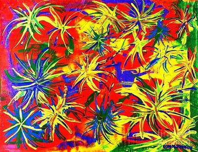 Fireworks Painting - Fireworks by Gina Nicolae Johnson