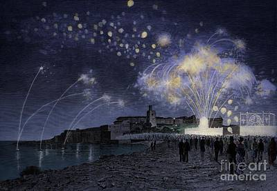 Fireworks Painting - Fireworks by Giuseppe Cosenza