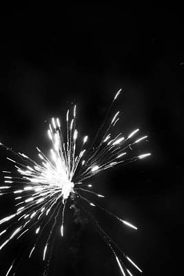 Photograph - Fireworks In Black And White 1 by Kelly Hazel