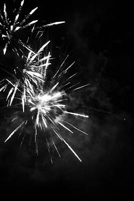 Photograph - Fireworks In Black And White 5 by Kelly Hazel