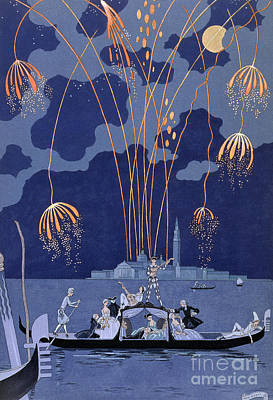 18th Century Painting - Fireworks In Venice by Georges Barbier