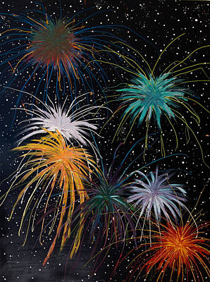 July Painting - Fireworks by Julia Collard