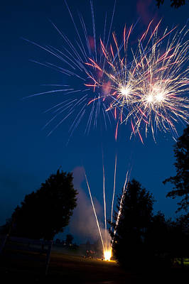 Fireworks Launching And Exploding Art Print by Greg Dale