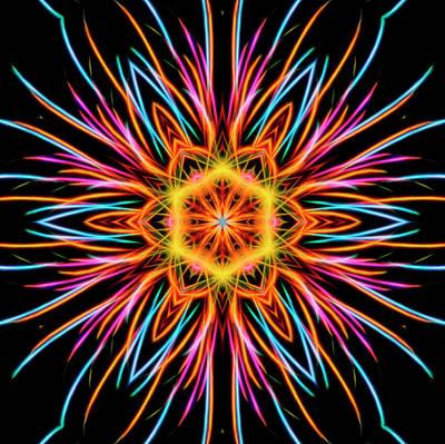 Photograph - Fireworks Mandala #1 by Yulia Kazansky