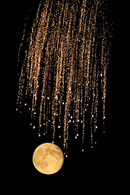 Photograph - Fireworks Moon by Marcus Donner