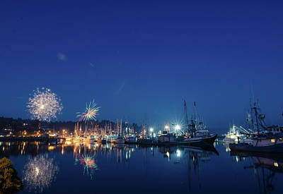 Photograph - Fireworks On The Bay by Margaret Pitcher