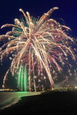 Photograph - Fireworks On The Beach Yarmouth Cape Cod by John Burk