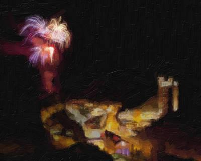 Blackhawk Painting - Fireworks Over Blackhawk Colorado by David Renner