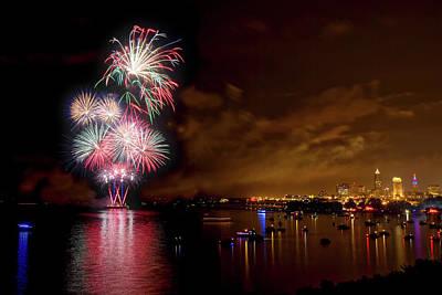 By Jackie Photograph - Fireworks Over Cleveland by Jackie Sajewski