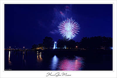 Fireworks Over Concord Point Lighthouse Havre De Grace Maryland Prints For Sale Print by Michael Grubb