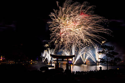 Comedian Drawings - Fireworks Over Epcot by Hunter Ward