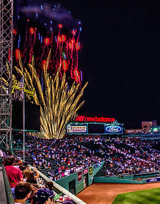 Photograph - Fireworks Over Fenway 001 by Jeff Stallard