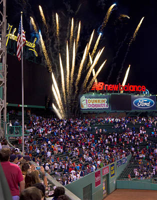 Photograph - Fireworks Over Fenway 002 by Jeff Stallard
