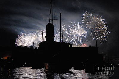 Fireworks Over Marseille's Vieux-port On July 14th Bastille Day Art Print by Sami Sarkis