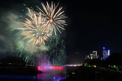 Photograph - Fireworks Over Niagara Falls #1 by Michael Blanchette