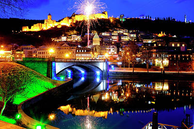 Photograph - Fireworks Over Old Tbilisi by Fabrizio Troiani