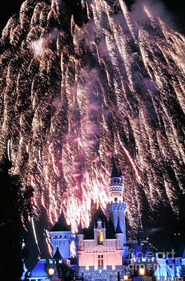 Photograph - Fireworks Over Over Cinderella's Castle by David Zanzinger