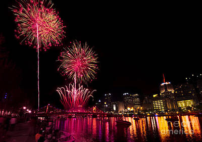 Fireworks Over Pittsburgh Pennsylvania Print by Amy Cicconi