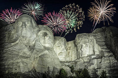 Mount Rushmore Photograph - Fireworks Over Rushmore by Jan and Burt Williams