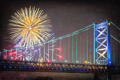 Ben Franklin Bridge Photograph - Fireworks Over The Ben Franklin Bridge by Robert Barnes