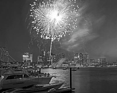 Photograph - Fireworks Over The Boston Skyline Boston Harbor Illumination Black And White by Toby McGuire