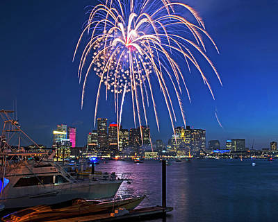 Photograph - Fireworks Over The Boston Skyline Boston Harbor Illumination Streaming Down by Toby McGuire
