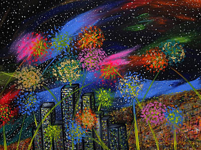 Finale Painting - Fireworks Over The City by Teressa Nichole