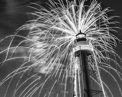Photograph - Fireworks Over The Marblehead Light Tower Marblehead Ma Black And White by Toby McGuire