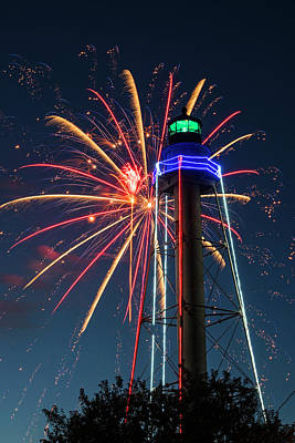 Photograph - Fireworks Over The Marblehead Light Tower Marblehead Ma Burst by Toby McGuire