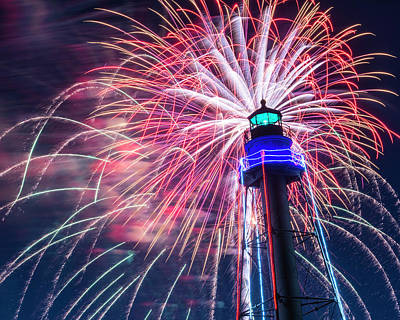 Photograph - Fireworks Over The Marblehead Light Tower Marblehead Ma by Toby McGuire