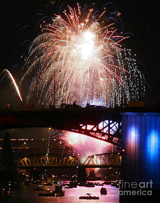 Fireworks Over The River Art Print by Keith Dillon