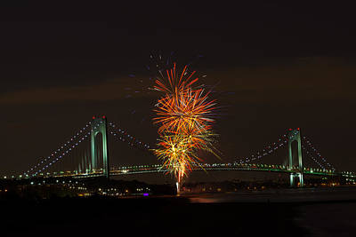 Photograph - Fireworks Over The Verrazano Narrows Bridge by Kenneth Cole