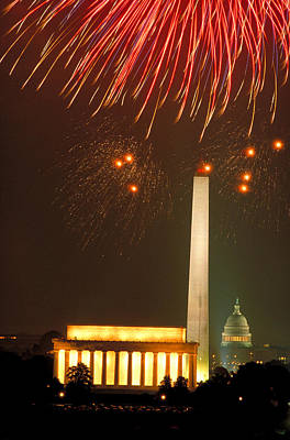 Fireworks Over Washington Dc Mall Art Print