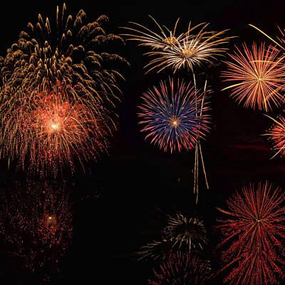 Priska Wettstein Pink Hues - Fireworks Reflection In Wate - 1 by OLena Art - Lena Owens
