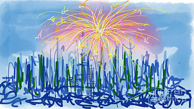 July Fourth Drawing - Fireworks by Robert Yaeger