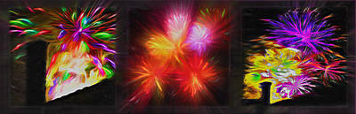 Rooftop Mixed Media - Fireworks Triptych 2 by Steve Ohlsen