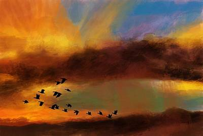 Painting - Fire Sky And Geese  by Michele Carter