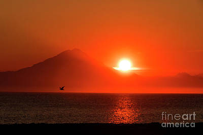 Photograph - Firey Sunset On Mt Redoubt Volcano Alaska by Louise Magno