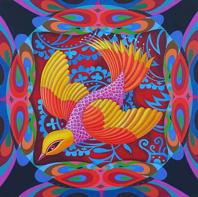 Birds Of A Feather Painting - Firey-tailed Flier by Jane Tattersfield