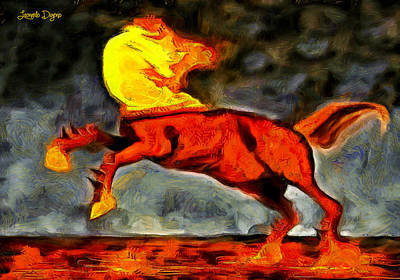 Burning Digital Art - Firing Head Horse - Da by Leonardo Digenio