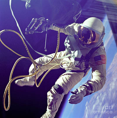 Manned Space Flight Photograph - First American Walking In Space, Edward by Nasa