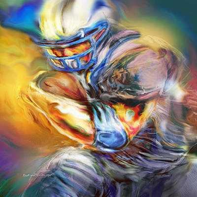 Running Back Painting - First And Ten by Mike Massengale