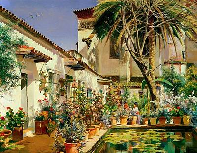 Christian Artwork Painting - First Atrium Of Santa Paula Convent Seville by Mountain Dreams
