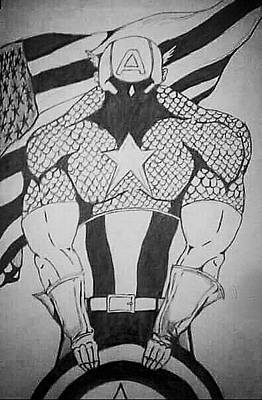 Captain America Drawing Drawing - First Avenger by Ryan Williams