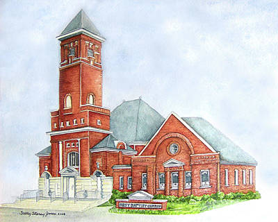 First Baptist Church Of Carrollton Ga Painting By Sally
