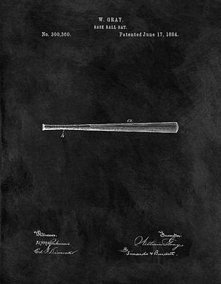 Athletes Mixed Media - First Baseball Bat Patent by Dan Sproul