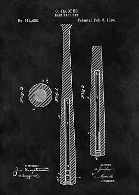 Baseball Art Drawing - First Baseball Bat Patent Illustration by Dan Sproul