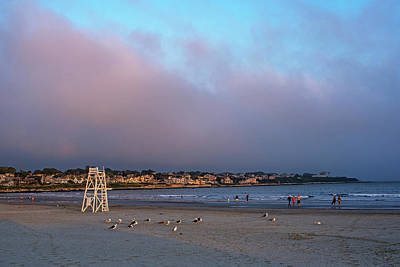 Photograph - First Beach Sunset Newport Ri Rhode Island Red Sky by Toby McGuire