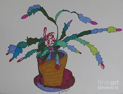 First Bloom Christmas Cactus Art Print by James SheppardIII